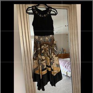 Dress Barn Gold Black Hanky Summer Dress 4